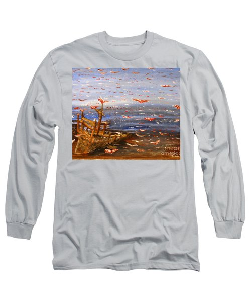 Beach Boat And Birds Long Sleeve T-Shirt