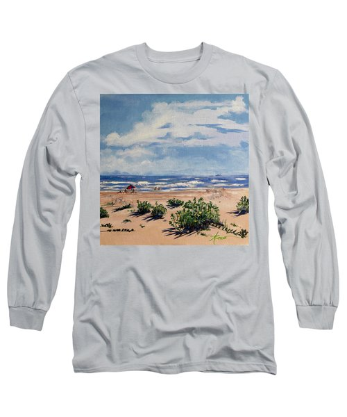 Beach Scene On Galveston Island Long Sleeve T-Shirt