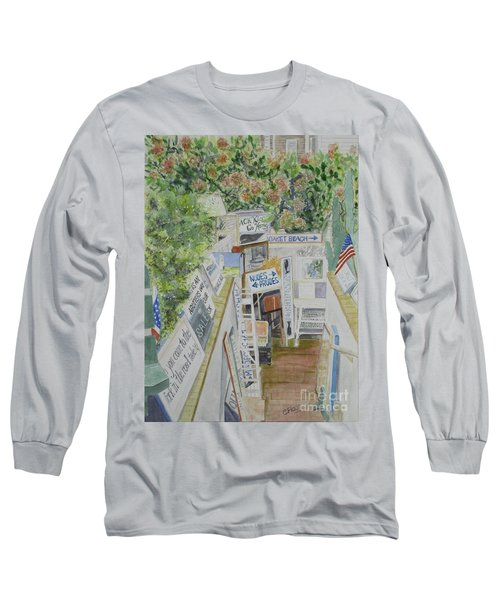Long Sleeve T-Shirt featuring the painting Beach Signs by Carol Flagg