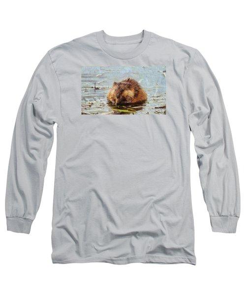 Beaver Portrait On Canvas Long Sleeve T-Shirt