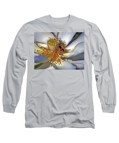Bee On Lotus Long Sleeve T-Shirt by Savannah Gibbs