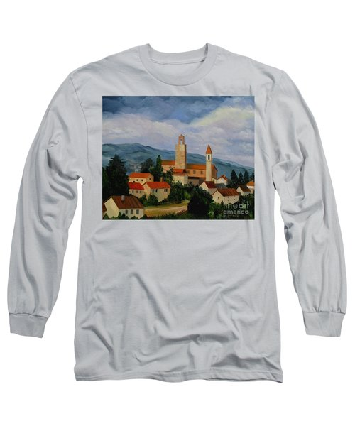Long Sleeve T-Shirt featuring the painting Bell Tower Of Vinci by Julie Brugh Riffey