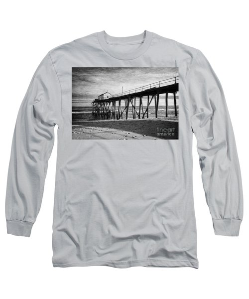 Long Sleeve T-Shirt featuring the photograph Belmar Fishing Pier In Black And White by Debra Fedchin