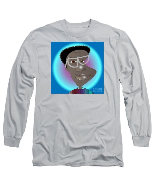 Long Sleeve T-Shirt featuring the drawing Bill Cosby by Iris Gelbart