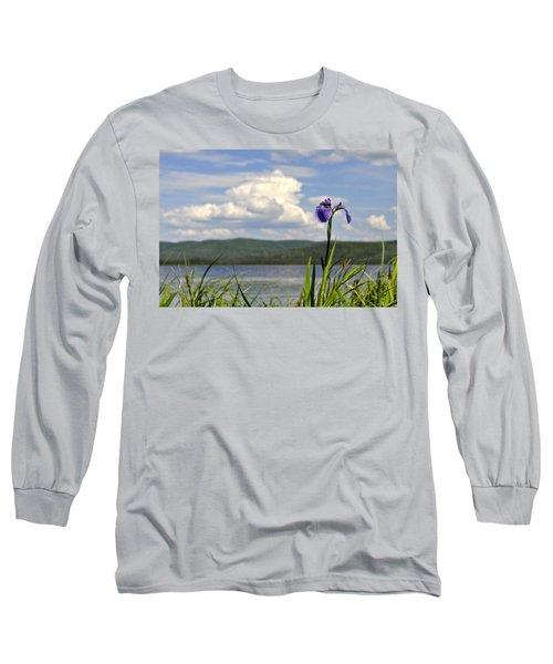 Long Sleeve T-Shirt featuring the photograph Birch Lake Iris by Cathy Mahnke