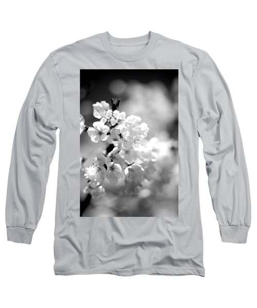 Black And White Blossoms Long Sleeve T-Shirt