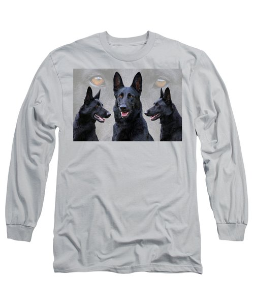 Black German Shepherd Dog Collage Long Sleeve T-Shirt by Sandy Keeton
