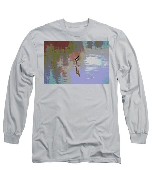 Black Neck Stilt Out In The Pond Long Sleeve T-Shirt by Tom Janca
