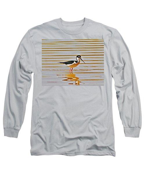 Long Sleeve T-Shirt featuring the photograph Black Neck Stilt Standing by Tom Janca