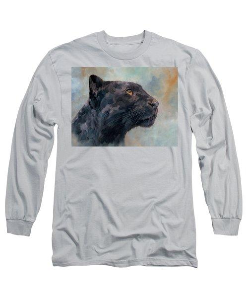 Black Panther Long Sleeve T-Shirt by David Stribbling