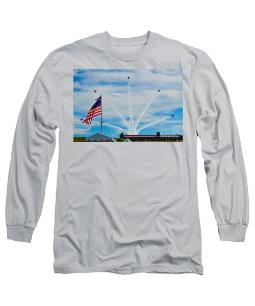 Blue Angels Bomb Burst In Air Over Fort Mchenry Finale Long Sleeve T-Shirt