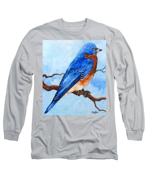 Long Sleeve T-Shirt featuring the painting Blue Bird by Curtiss Shaffer