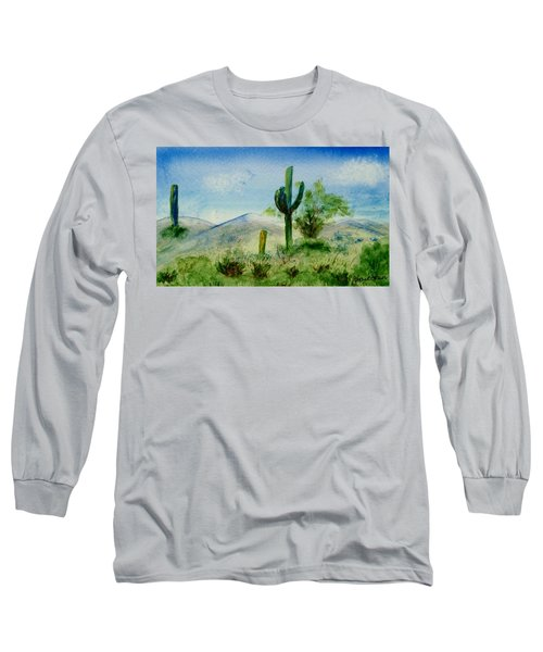 Long Sleeve T-Shirt featuring the painting Blue Cactus by Jamie Frier