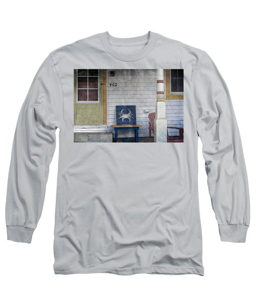 Blue Crab Chair Long Sleeve T-Shirt by Brian Wallace