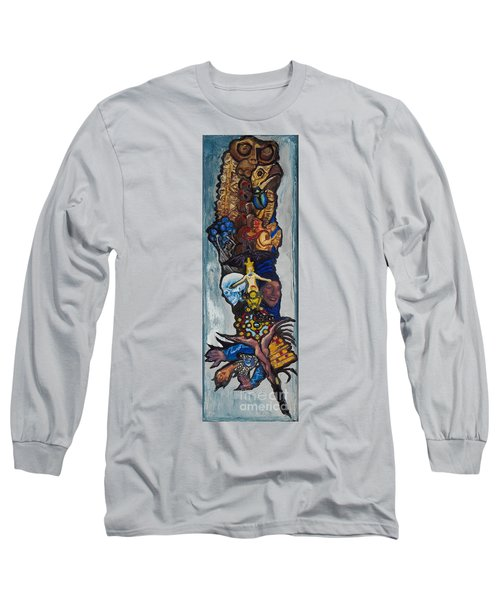 Blue Crow Feather- Crow Series Long Sleeve T-Shirt by Emily McLaughlin