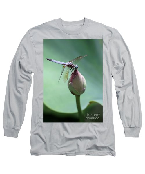 Blue Dragonflies Love Lotus Buds Long Sleeve T-Shirt