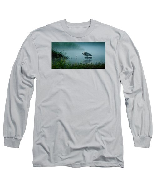 Blue Heron Morning Long Sleeve T-Shirt by Deborah Smith