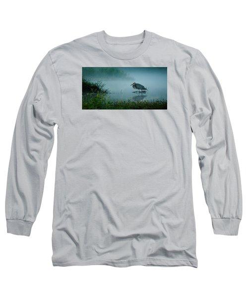 Blue Heron Morning Long Sleeve T-Shirt