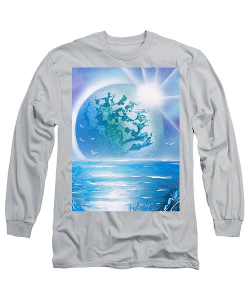 Long Sleeve T-Shirt featuring the painting Blue Moon by Greg Moores