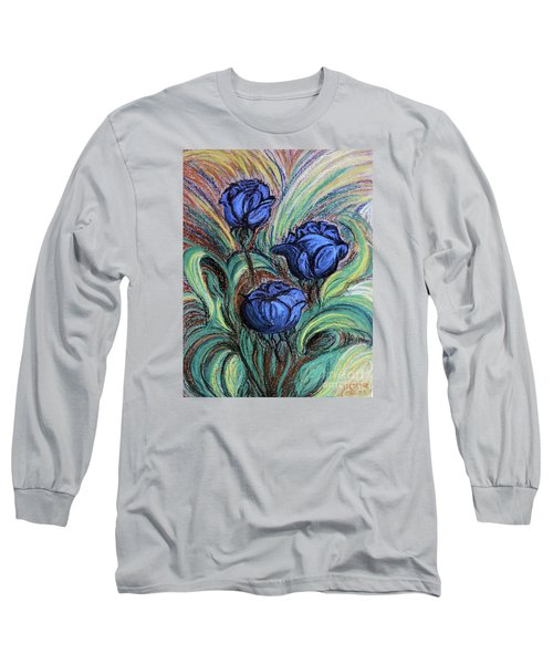Blue Roses Long Sleeve T-Shirt by Jasna Dragun