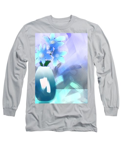 Long Sleeve T-Shirt featuring the digital art Blue Vase Of Flowers by Frank Bright