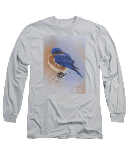 Bluebird In The Snow Long Sleeve T-Shirt by Lena Auxier
