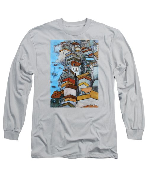 Boats In Front Of The Buildings Iv Long Sleeve T-Shirt by Xueling Zou
