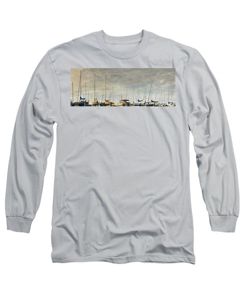 Long Sleeve T-Shirt featuring the photograph Boats In Harbor Reflection by Peter v Quenter