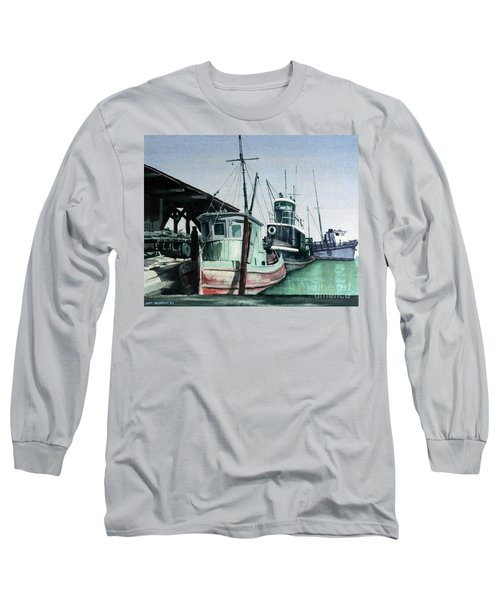 Long Sleeve T-Shirt featuring the painting Boats by Joey Agbayani