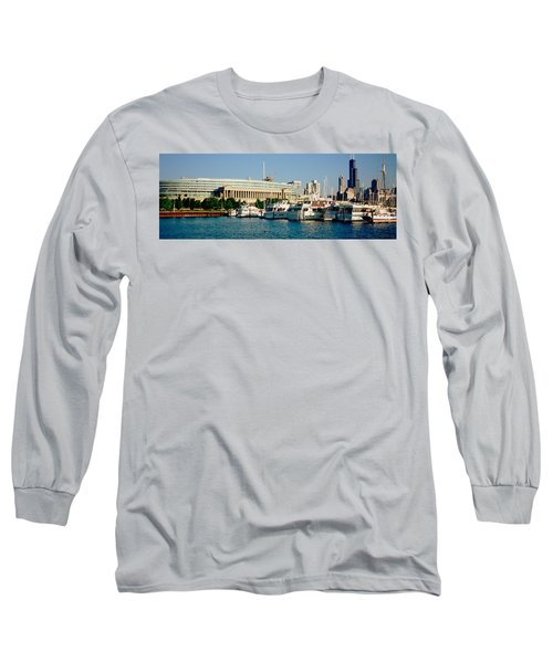 Boats Moored At A Dock, Chicago Long Sleeve T-Shirt by Panoramic Images
