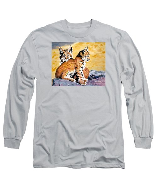 Long Sleeve T-Shirt featuring the painting Bob Kittens by Phyllis Kaltenbach