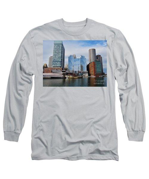 Boston Skyline I Long Sleeve T-Shirt by Barbara Bardzik