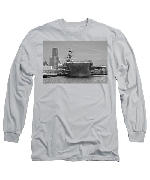 Bow Of The Uss Midway Museum Cv 41 Aircraft Carrier - Black And White Long Sleeve T-Shirt by Claudia Ellis