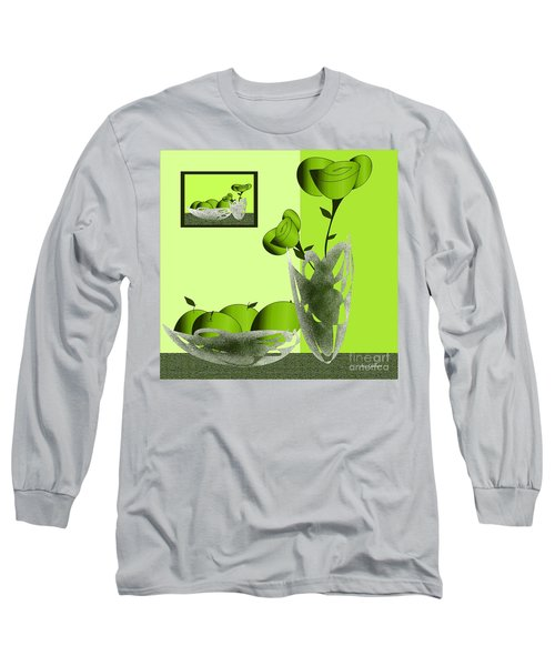 Fruit And Flowers In Green Long Sleeve T-Shirt
