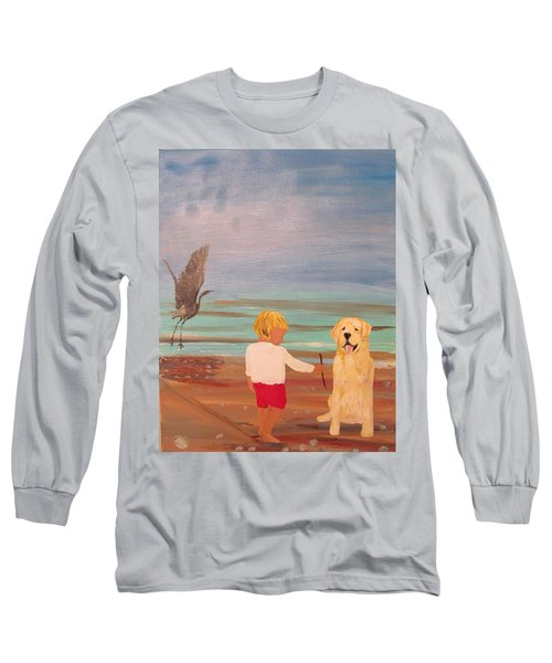 Boy And Dog Long Sleeve T-Shirt