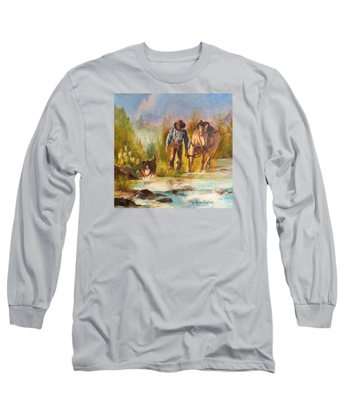 Long Sleeve T-Shirt featuring the painting Break For The Ride by Karen Kennedy Chatham