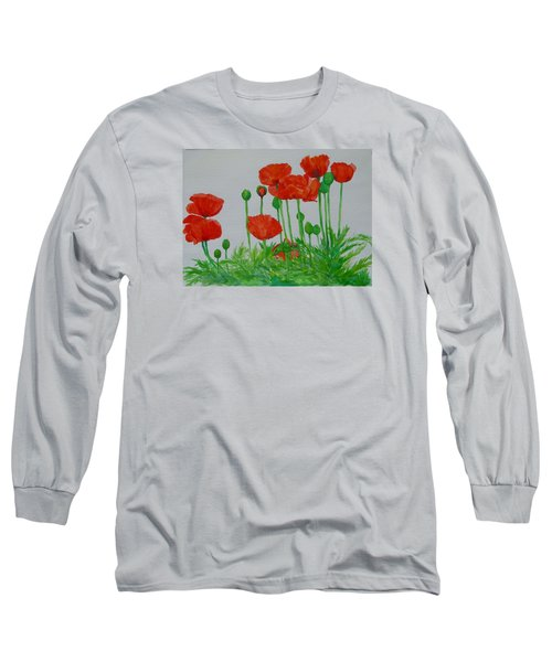 Red Poppies Colorful Flowers Original Art Painting Floral Garden Decor Artist K Joann Russell Long Sleeve T-Shirt