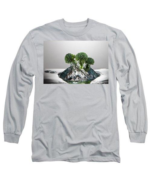 Broccoli Freshsplash Long Sleeve T-Shirt by Steve Gadomski