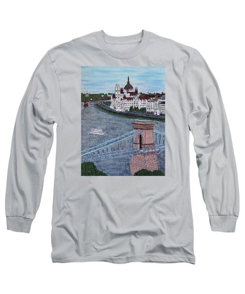 Long Sleeve T-Shirt featuring the painting Budapest Bridge by Jasna Gopic