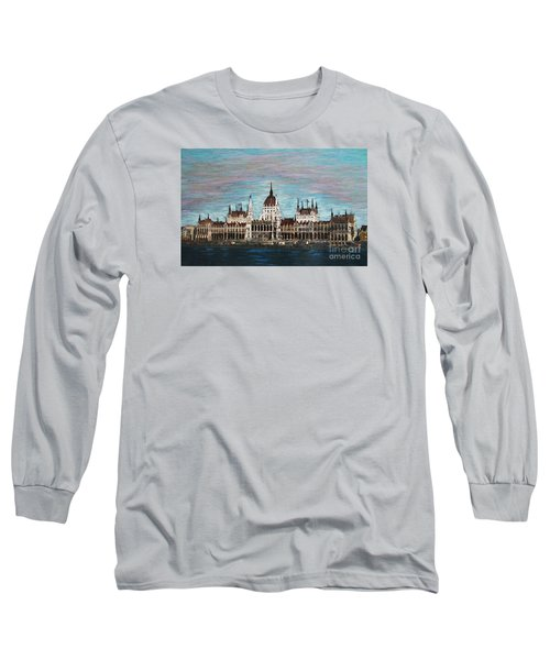 Long Sleeve T-Shirt featuring the painting Budapest Parliament By Jasna Gopic by Jasna Gopic