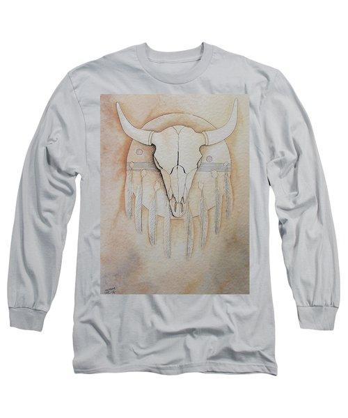Long Sleeve T-Shirt featuring the painting Buffalo Shield by Richard Faulkner