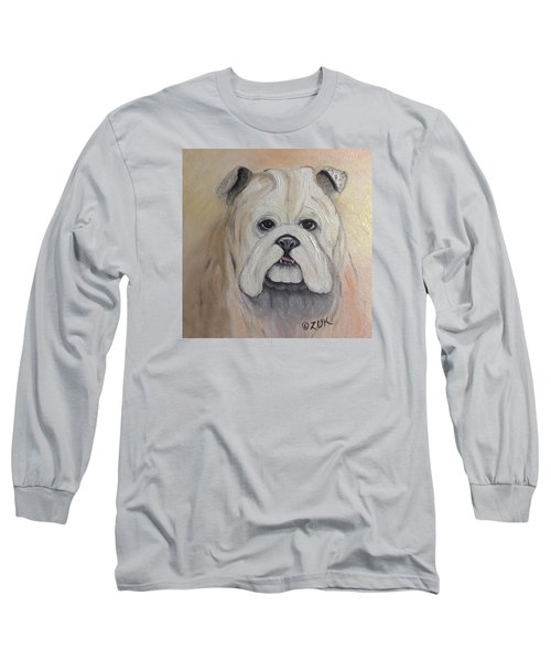 Long Sleeve T-Shirt featuring the painting Bulldog by Karen Zuk Rosenblatt