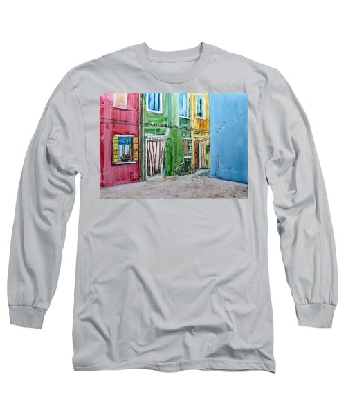 Long Sleeve T-Shirt featuring the painting Burano by Anna Ruzsan
