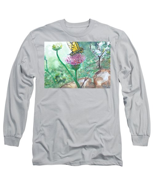 Butterfly On Flower  Long Sleeve T-Shirt