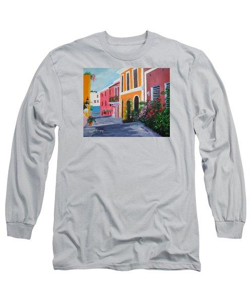 Callejon En El Viejo San Juan Long Sleeve T-Shirt by Luis F Rodriguez