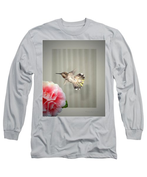 Long Sleeve T-Shirt featuring the photograph Camellia And Hummer by Joyce Dickens