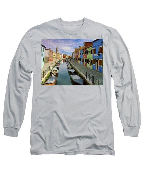 Canal Burano  Venice Italy  Long Sleeve T-Shirt