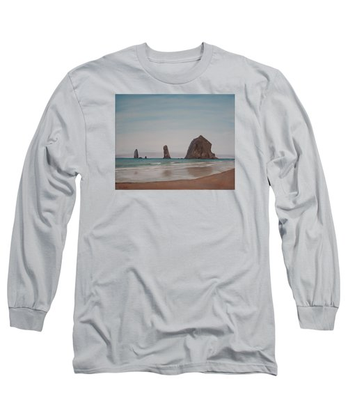 Long Sleeve T-Shirt featuring the painting Cannon Beach Haystack Rock by Ian Donley