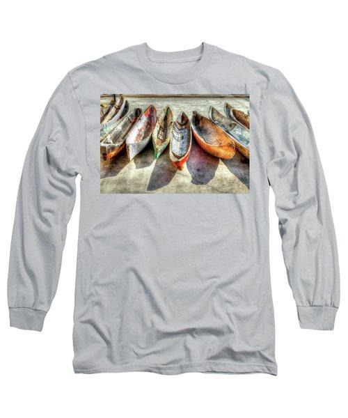 Canoes Long Sleeve T-Shirt by Debra and Dave Vanderlaan