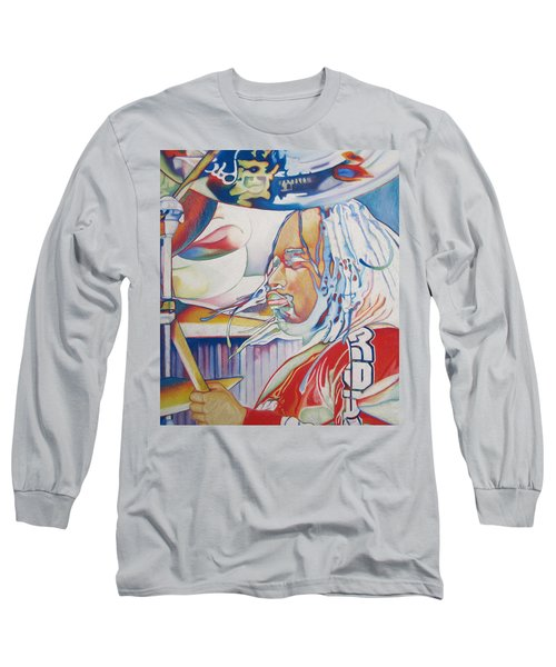 Carter Beauford Colorful Full Band Series Long Sleeve T-Shirt by Joshua Morton